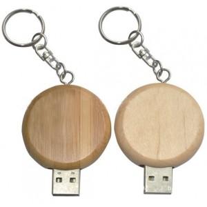 CLE USB ROND EN BOIS PUBLICITAIRE
