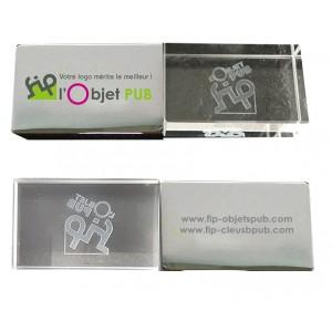 CLE USB METAL CRISTAL 3D PUBLICITAIRE
