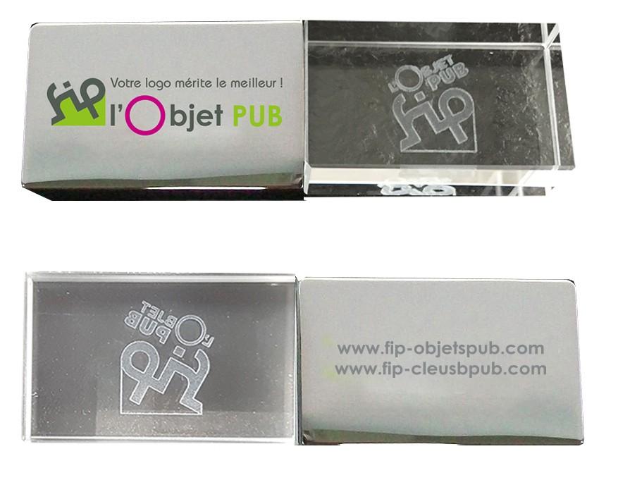 CLE USB METAL CRISTAL 3D