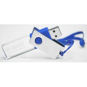 CLE USB ROTATIVE LED EN VERRE ET ACIER PUBLICITAIRE