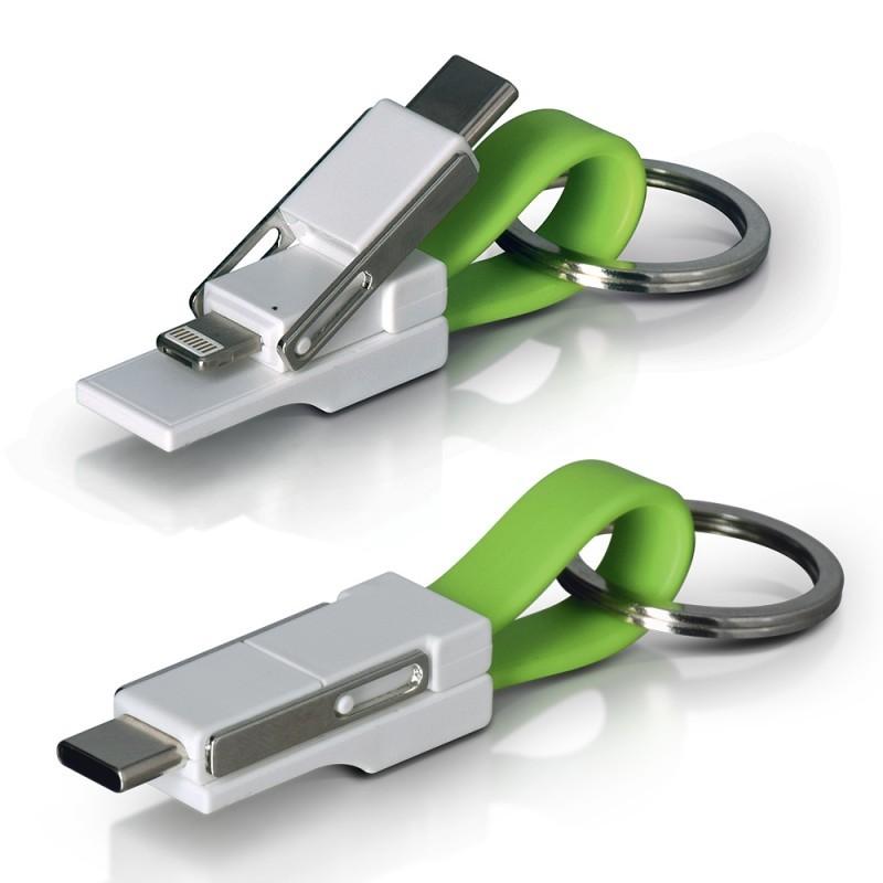 PORTE CLES CABLE DE CHARGE 3 PORTS USB TYPE C